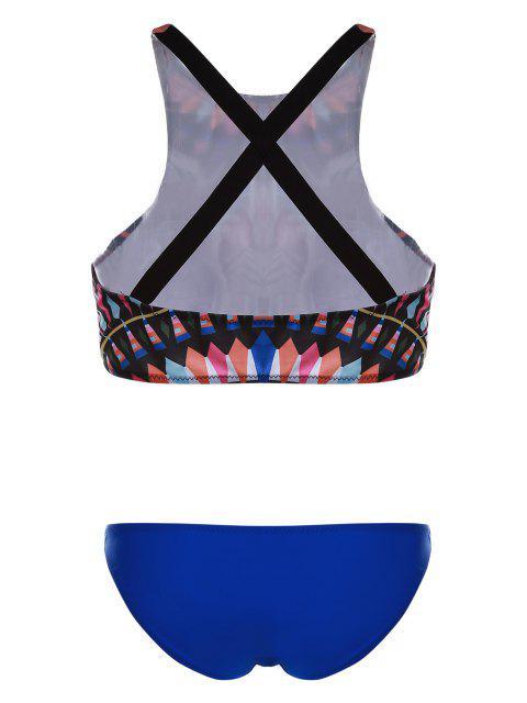affordable Printed High Neck Bikini Set - COLORMIX L Mobile