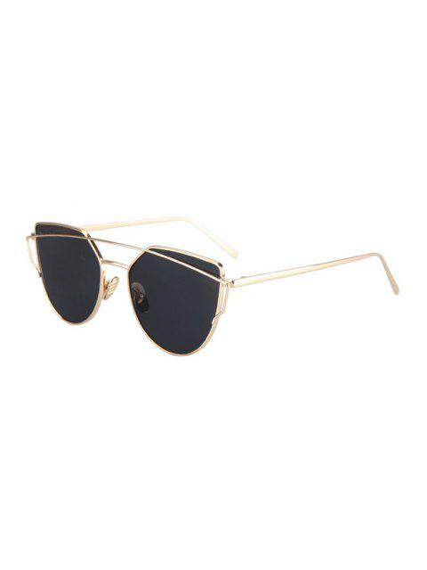 outfit Metal Bar Golden Frame Pilot Sunglasses - BLACK  Mobile