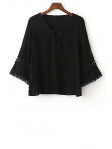 Solid Color Lace-Up Round Neck 3/4 Sleeve Blouse - Black L