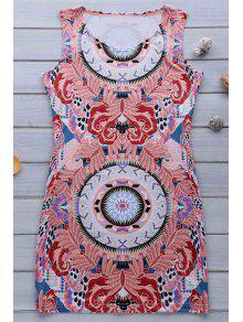 Retro Print Jewel Neck Sleeveless Sundress - Pink S