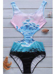 Wave Print Jewel Neck One-Piece Swimwear - Xl