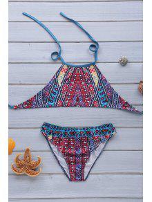 Ethnic Print Halterneck Bikini Set - Xl