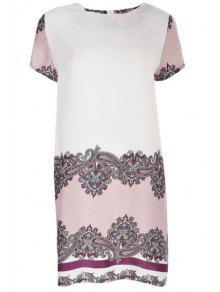 Vintage Print Round Neck Short Sleeve Dress - Xl