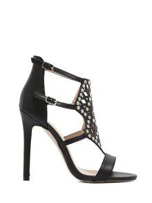 Buy Rivet Hollow Stiletto Heel Sandals - BLACK 40