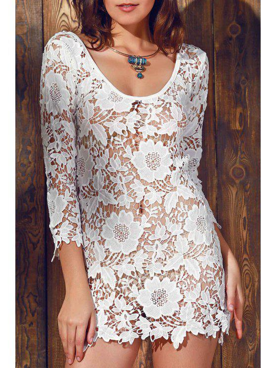 latest Scalloped Sheer Lace Cover Up - WHITE L