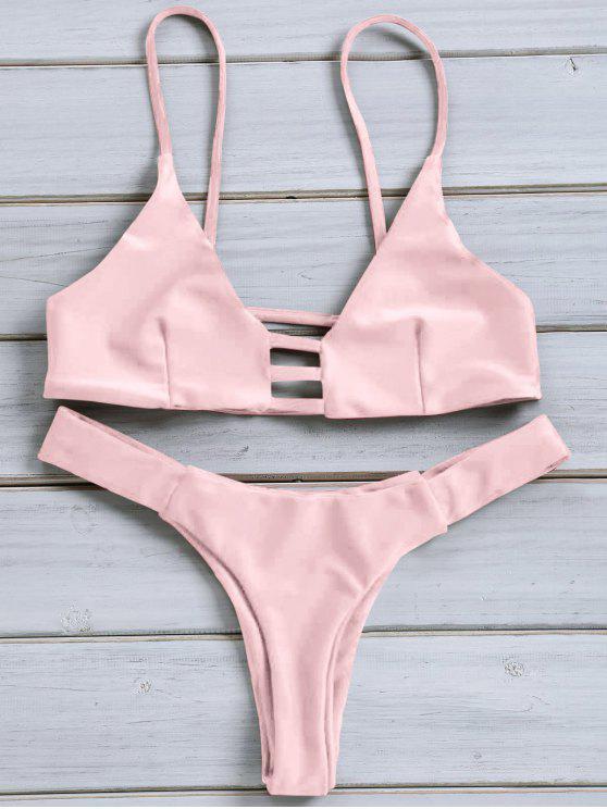 De Fino Monocromático Bikini Con Combinado Traje Cordón Tirante wk8OPXn0