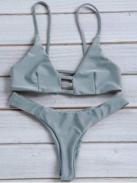 Traje de Bikini Monocromático con Cordón Combinado con Tirante Fino - Azul Gris XL
