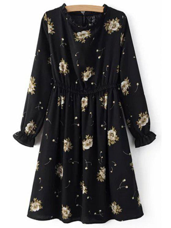 shop Retro Floral Print Round Neck Long Sleeve Dress - BLACK M