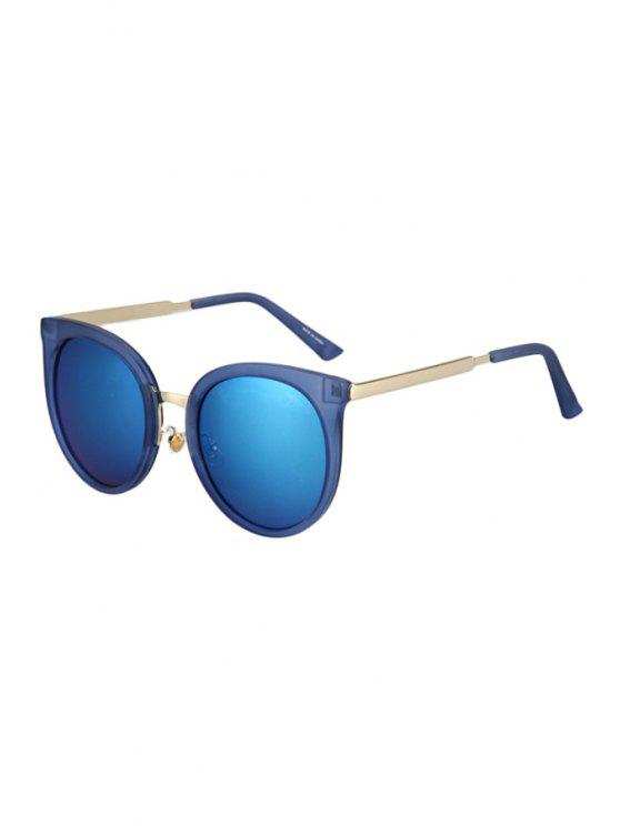 shops Metal Splicing Cat Eye Sunglasses - BLUE