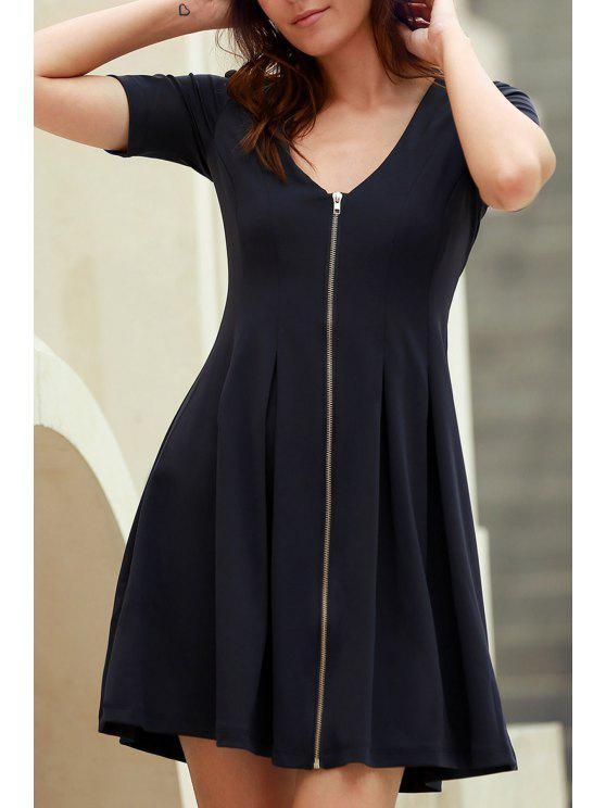 Con cuello en V vestido de skate con cremallera - Azul Purpúreo S