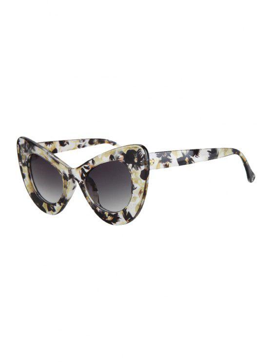 Flower Pattern Butterfly Shape Sunglasses - Amarillo