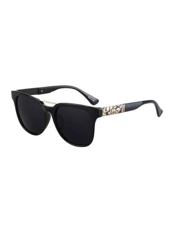 lady Flower Shape Bulge Black Frame Sunglasses - BLACK