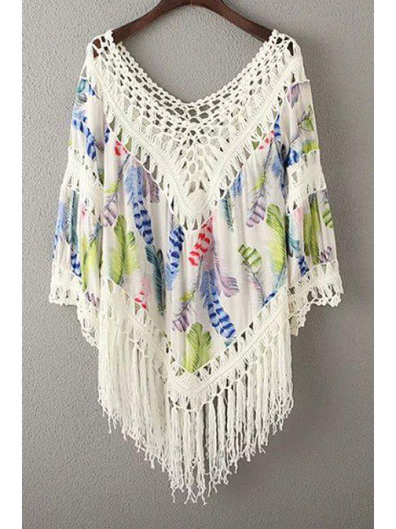 unique Tassels Spliced V-Neck Hollow Out Blouse - BLUE ONE SIZE(FIT SIZE XS TO M)