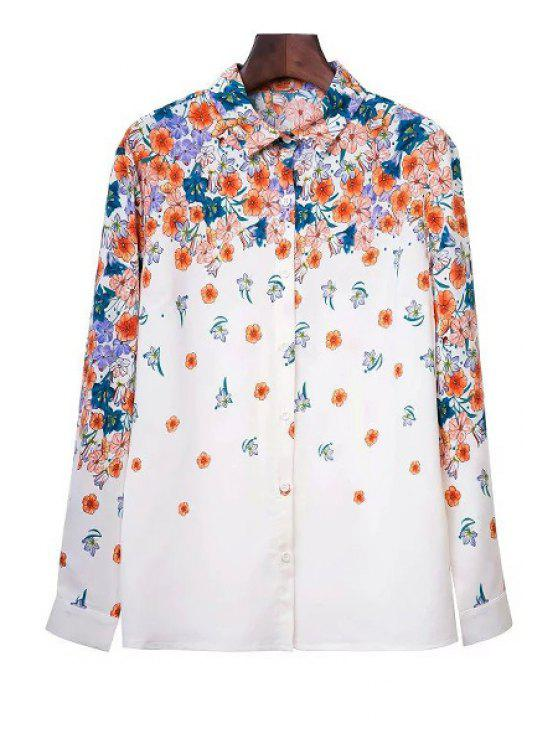 fashion Tiny Flower Print Shirt Collar Long Sleeve Shirt - WHITE S