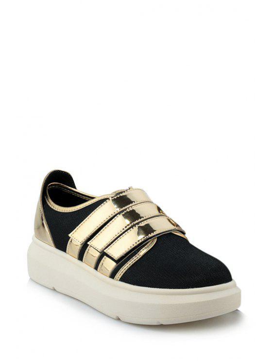 hot Color Block  Round Toe Platform Shoes - GOLDEN 38