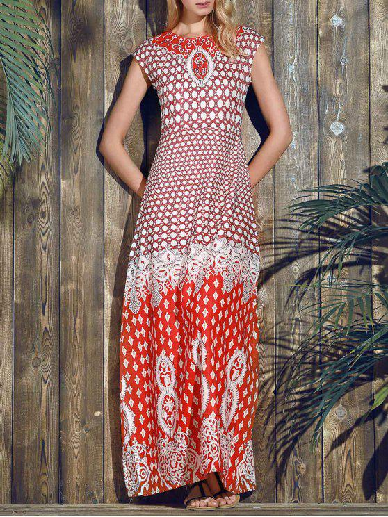 shop Red Print Round Neck Short Sleeve Maxi Dress - RED S