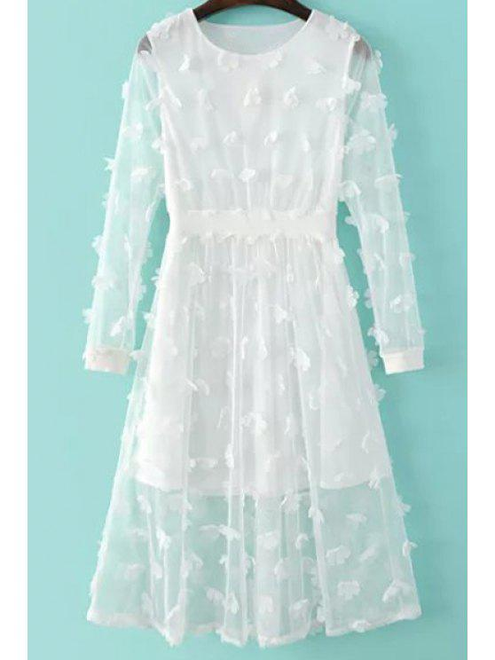 women Solid Color See-Through Round Neck Long Sleeve Dress - WHITE M
