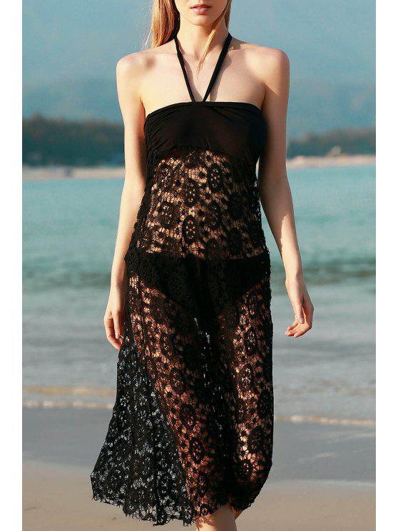 best Solid Color Lace Cover Up Skirt - BLACK S