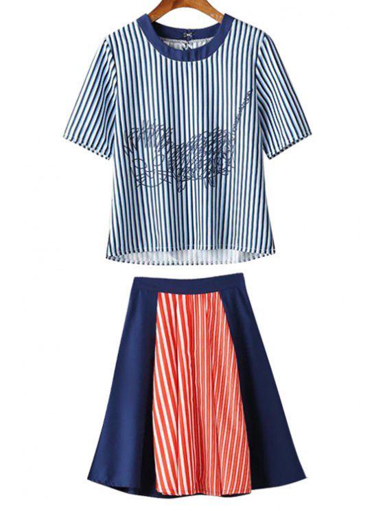womens Striped Kitten Tee + Colour Block Midi Skirt Twinset - COLORMIX M