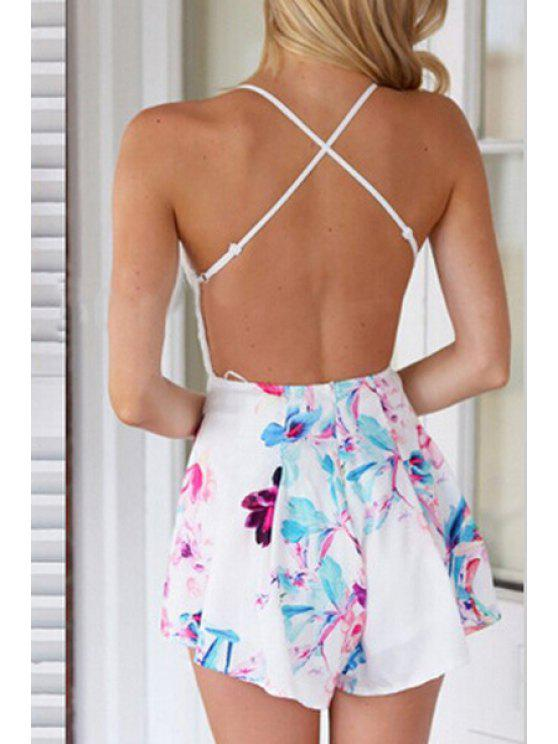hot Lace Spliced Backless Printed Romper - WHITE S