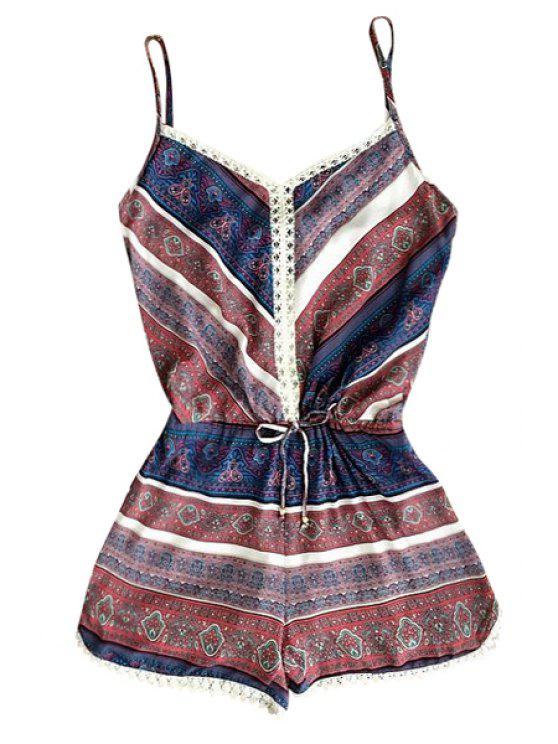 Weinlese-Druck Cami Playsuit - COLORMIX  XL