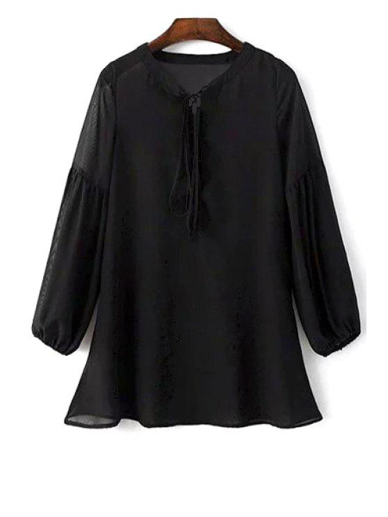 See-Through Robe en mousseline de soie noire - Noir L