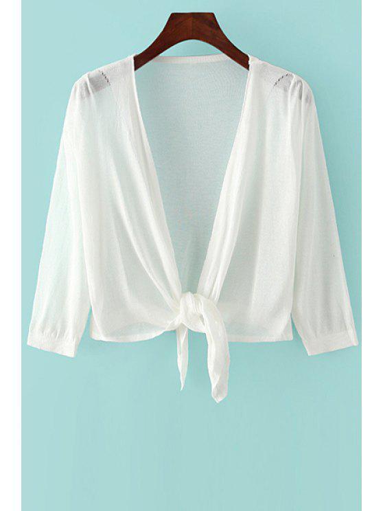 Annodata 3/4 manicotto di colore solido Cardigan - Bianco Tagia Unica ( dimensioni XS a M )