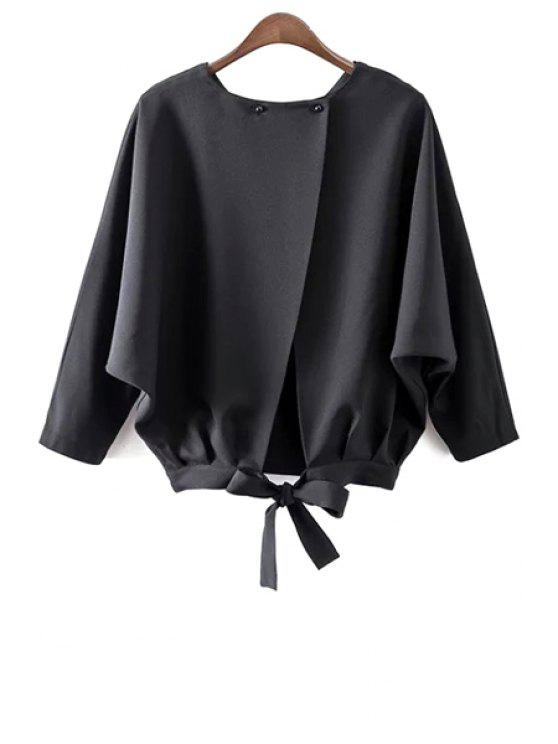 Batwing Sleeve Tie Blusa traseira - Preto L