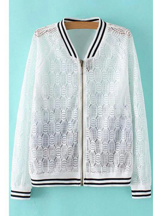 best Lace Spliced Stand Collar Long Sleeve Printed Jacket - WHITE S