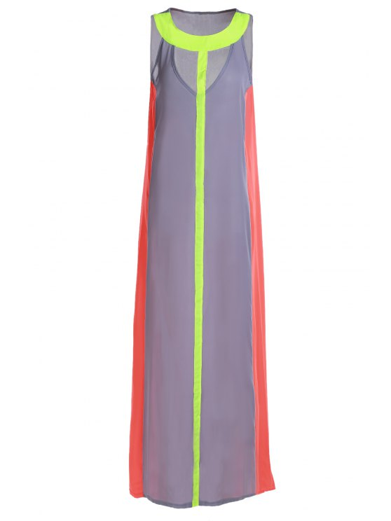 sale Hollow Color Block Sleeveless Maxi Dress - GRAY M