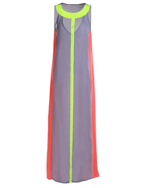 unique Hollow Color Block Sleeveless Maxi Dress - GRAY S
