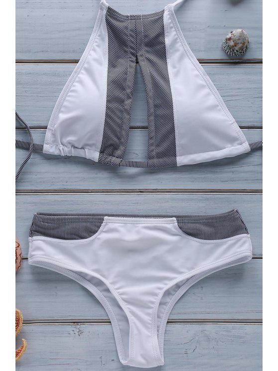 best Stripe Spliced Halter Bikini Set - WHITE L
