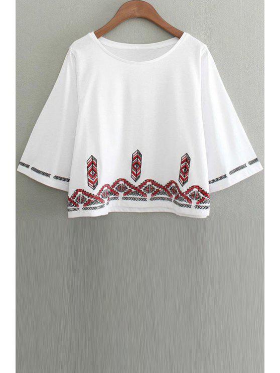 Bordado cuello redondo 3/4 camiseta de la manga - Blanco M
