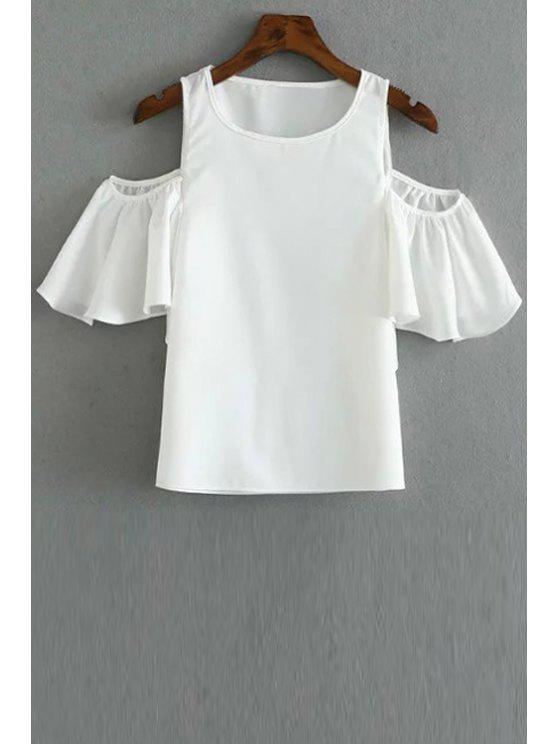 hot Solid Color Round Collar Cold Shoulder T-Shirt - WHITE M