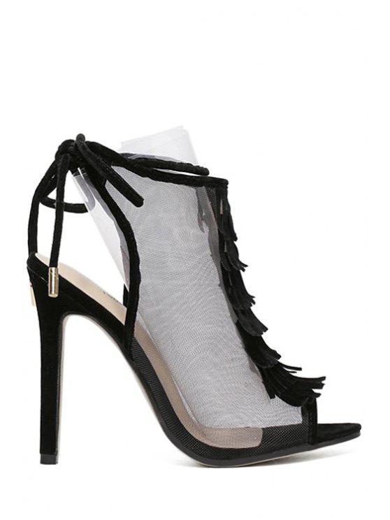 shop Peep Toe Gauze Fringe Sandals - BLACK 38