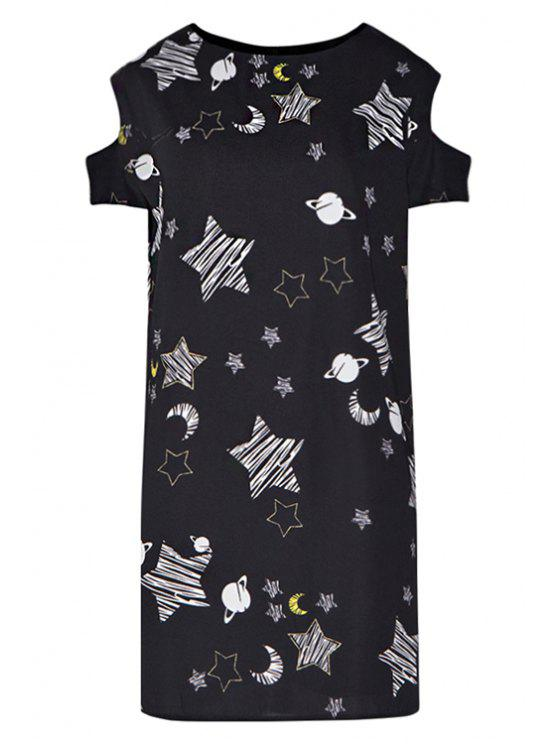 affordable Star Print Hollow Short Sleeve Dress - BLACK XL