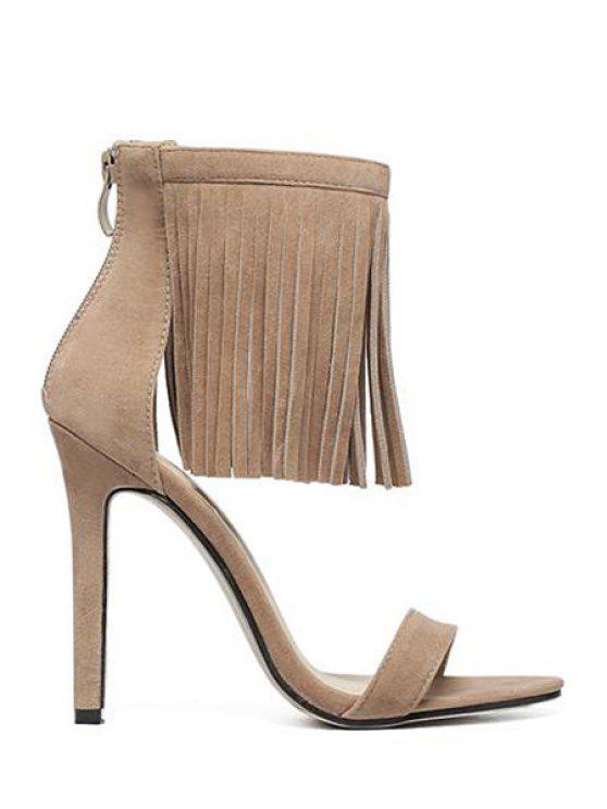 outfits Solid Color Stiletto Heel Fringe Sandals - APRICOT 40