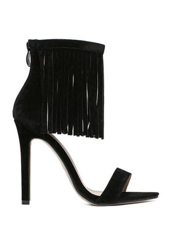 women's Solid Color Stiletto Heel Fringe Sandals - BLACK 38