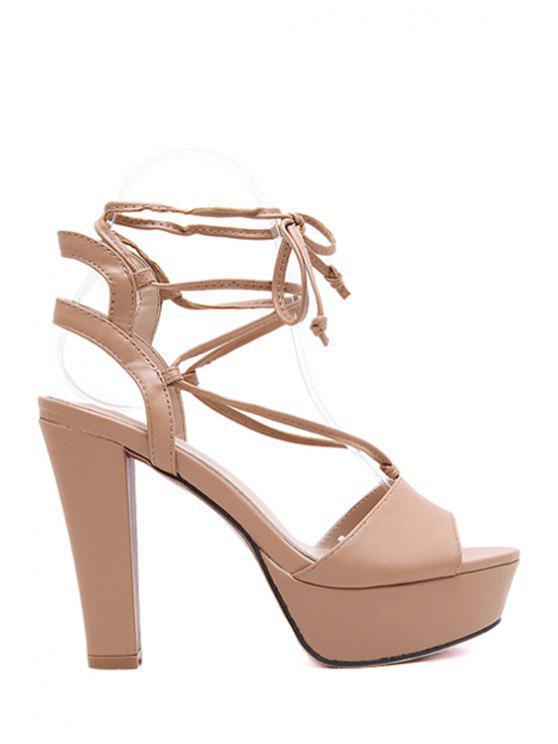 latest Peep Toe Platform Lace-Up Sandals - APRICOT 38
