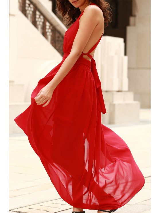affordable Plunging V Neck Backless Prom Dress - RED L