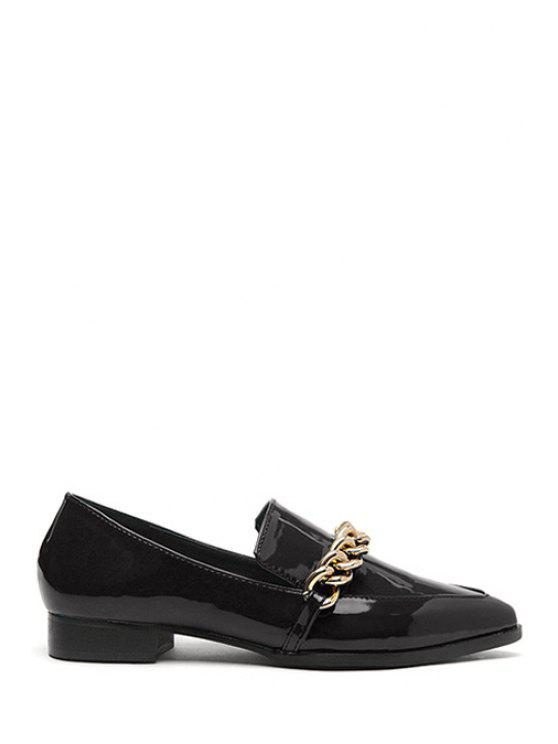 ladies Chains Patent Leather Pointed Toe Flat Shoes - BLACK 36