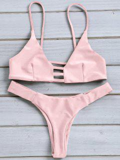 Solid Color Spaghetti Strap Lace Up Bikini Set - Pink Xl
