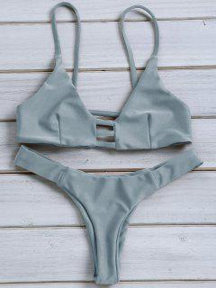 Solid Color Spaghetti Strap Lace Up Bikini Set - Blue Gray L