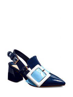 Slingback Square Buckle Chunky Heel Pumps - Blue 39