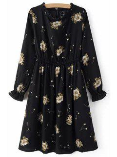 Retro Floral Print Round Neck Long Sleeve Dress - Black L
