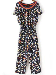 Fitting Flower Print Round Neck Short Sleeve Jumpsuit - Black L
