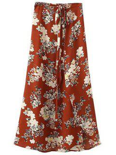 Dobladillo Irregular Estampado De Flores De La Alta Cintura Una Línea De Falda - Rojo L
