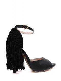 Black Peep Toe Fringe Sandals - Black 39