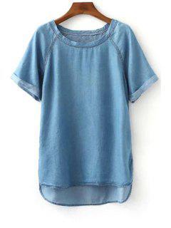 Flanger Jewel Cou à Manches Courtes Denim T-Shirt - Bleu S