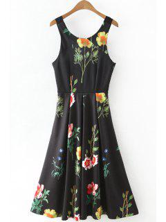 Floral Print Round Collar Waisted Dress - Black L